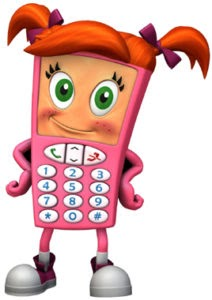 cell phone sally cartoon character